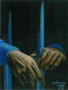 Hands behind bars, by Thomas Silverstein