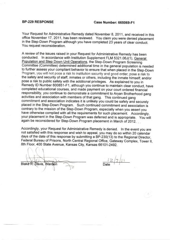 SDP rejection Response 12-7-2011