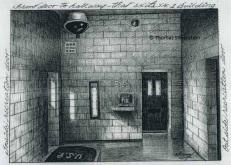 Cell for Silverstein front door to hallway that exits SAC-1 Building (USP Leavenworth). Artist: ©Thomas Silverstein.