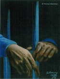 Hands behind bars. Artist: ©Thomas Silverstein.